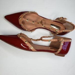 Halogen Red Patent Leather Studded Pointed flats
